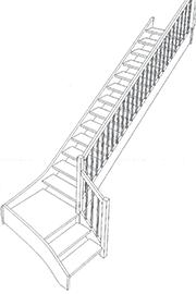 schodiště 1/4 lomené s podestou